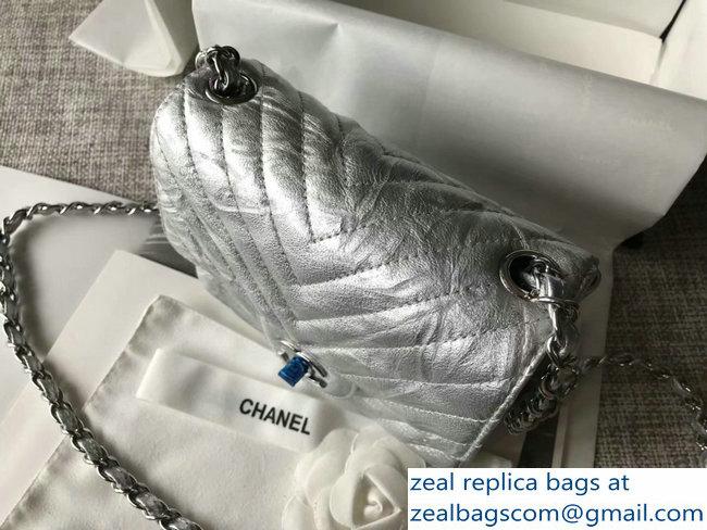 173ba401b465 Chanel Crumpled Calfskin Chevron Classic Flap Mini Bag Silver 2018 ...
