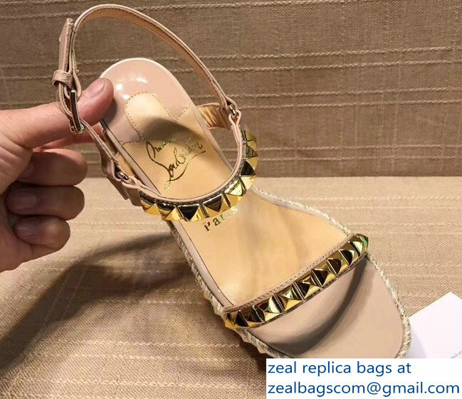 Christian Louboutin Heel 5.8cm Studded Pyraclou Wedge Sandals Apricot 2018