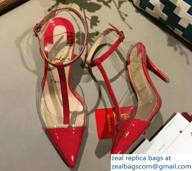 Christian Louboutin Heel 8.5cm Nosy Transparent PVC Slingback Pumps Patent Red 2018