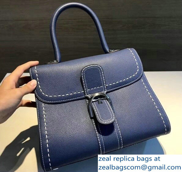 Delvaux Brillant Medium Tote Bag In Clemence Leather Large Stitch Blue