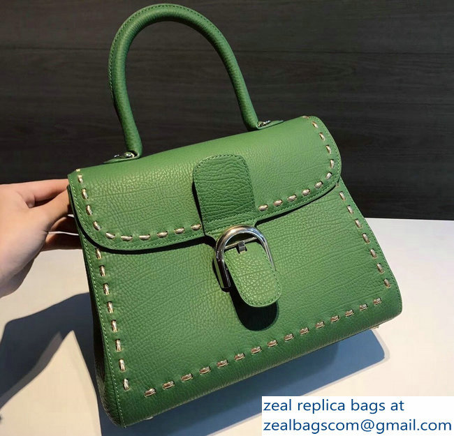 Delvaux Brillant Medium Tote Bag In Togo Leather Large Stitch Green