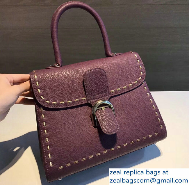 Delvaux Brillant Medium Tote Bag In Togo Leather Large Stitch Purple