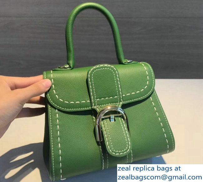Delvaux Brillant Small Tote Bag In Clemence Leather Large Stitch Green