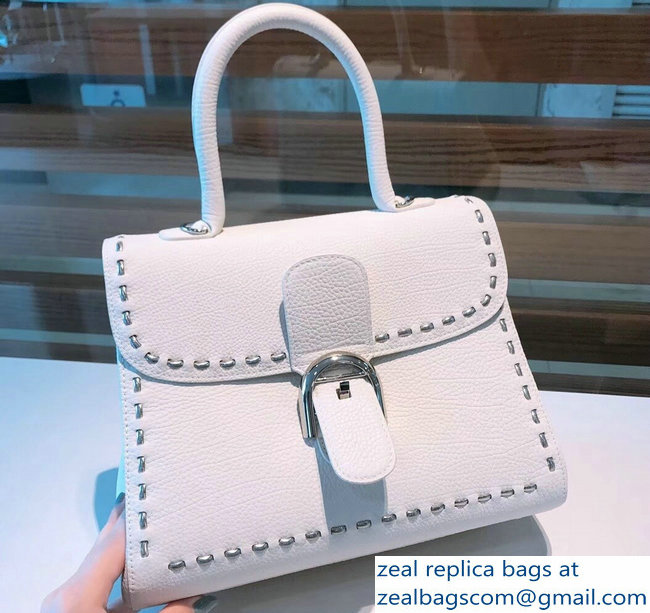 Delvaux Brillant Small Tote Bag In Togo Leather White