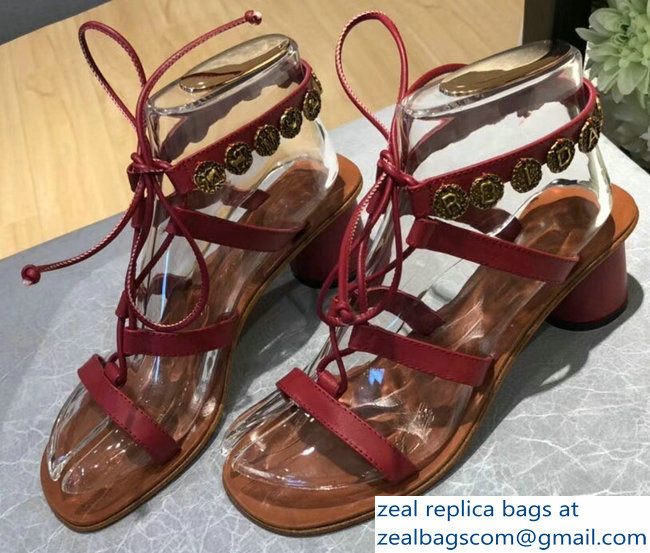 Dior Zodiac Heel Sandals In Calfskin Leather Red With Medallions 2018