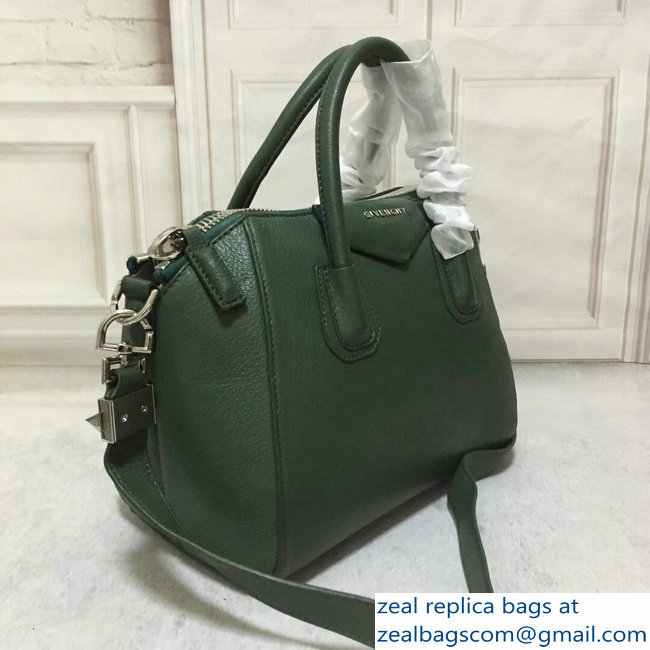 7ac21a7da4 Givenchy Goatskin Leather Medium Antigona Bag Dark Green   www ...