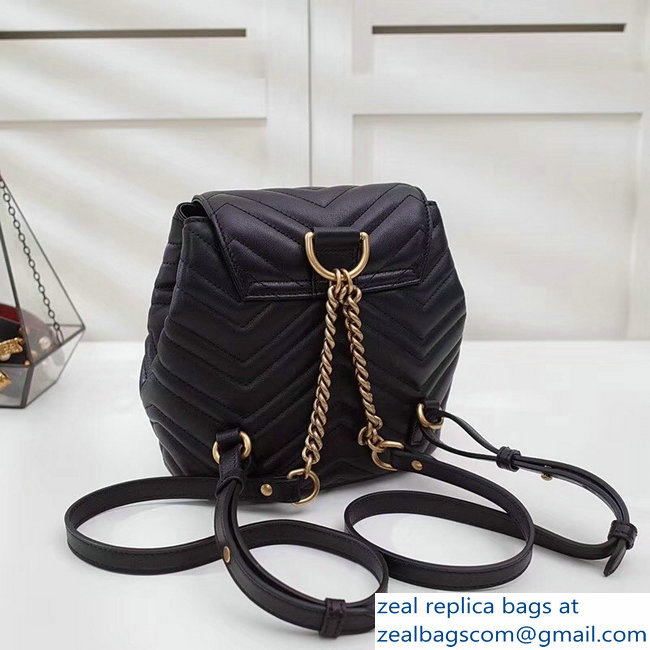 f2a9072fed99 Gucci GG Marmont Matelasse Chevron Leather Backpack Bag 528129 Black 2018