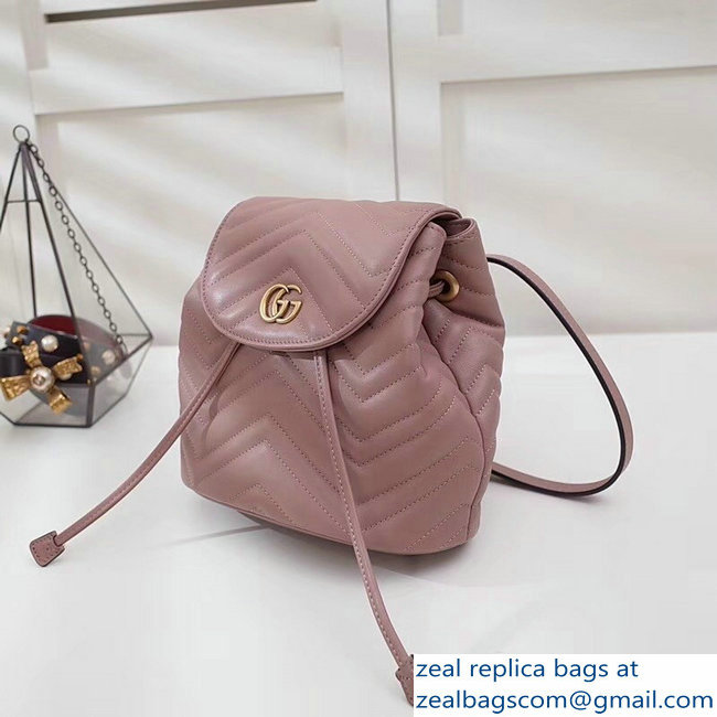 7c082b932e1f Gucci GG Marmont Matelasse Chevron Leather Backpack Bag 528129 Nude Pink  2018