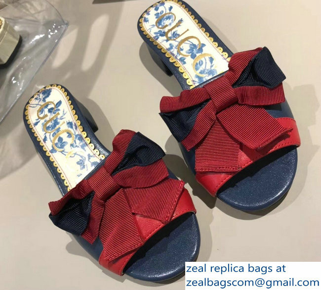 Gucci Leather Slides Dark Blue/Red With Web Bow 516198 2018