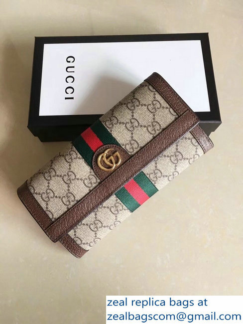 44bc965884 Gucci Ophidia GG Web Continental Wallet 523153 Brown 2018   www ...