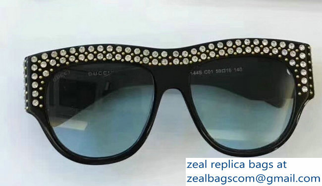 Gucci Oversize Acetate Sunglasses With Crystals 470467 04 2018