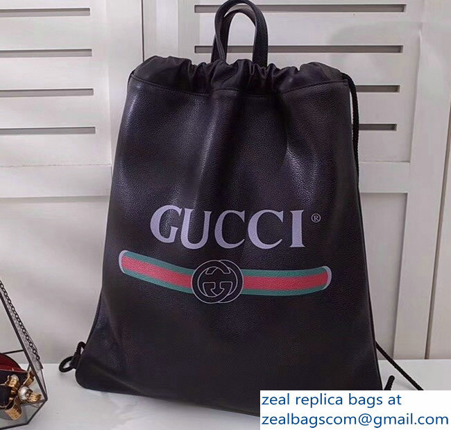 5e9bd8f8ae5e Gucci Print Leather Vintage Logo Drawstring Backpack Bag 494053 Black 2018