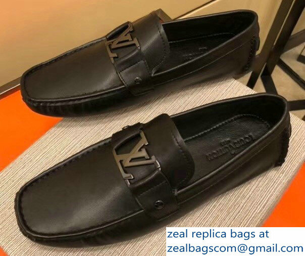 Louis Vuitton Men's Moccasin Shoes Black