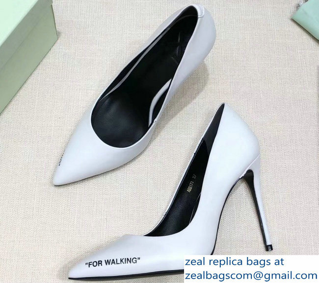 Off-White Heel 10cm For Walking Stiletto Pumps White 2018