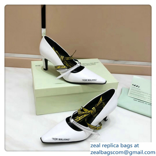 Off-White Heel 7cm For Walking Pumps White 2018