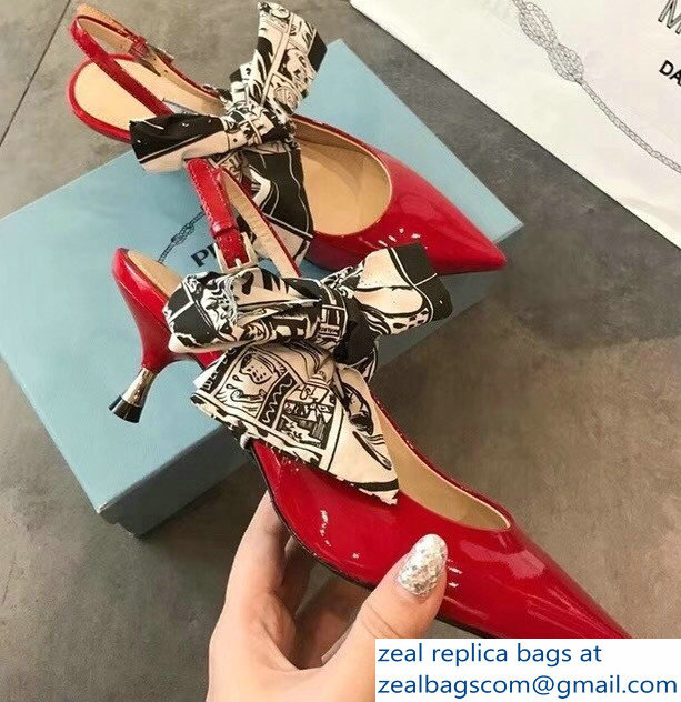 Prada Heel 5.5cm Patent Leather Slingback Pumps Red with Detachable Bow 2018
