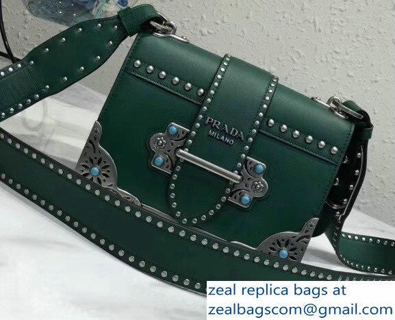 07f8abb07e1e Prada Studded Cahier Calf Leather Shoulder Bag 1BD045 Green 2018