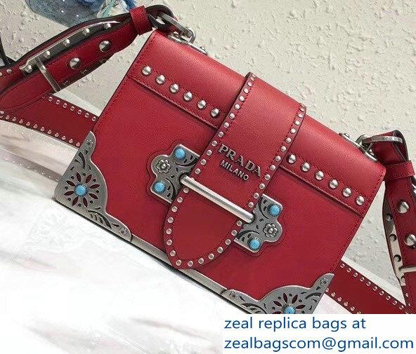 Prada Studded Cahier Calf Leather Shoulder Bag 1BD045 Red 2018 c44e2aec48de0