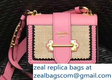 60d994bf8da8 Prada Woven Straw And Leather Cahier Shoulder Bag 1BD045 Beige Pink 2018