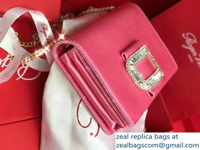 b8b3d5eda3 Roger Vivier Evening Micro Crystal Buckle Chain Bag In Silk Satin Pink
