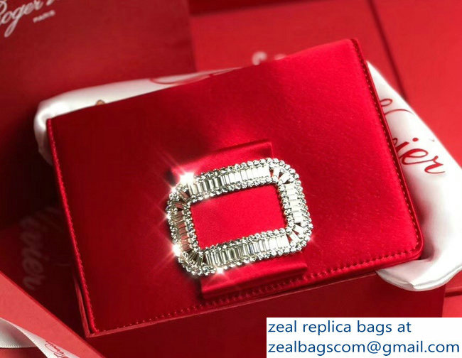 Roger Vivier Evening Micro Crystal Buckle Chain Bag In Silk Satin Red
