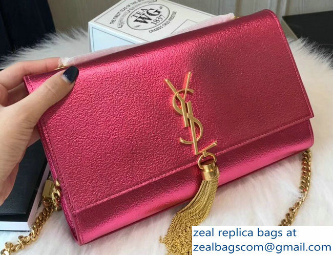 4d585c52cff0 Saint Laurent Medium Kate Monogram Tassel Satchel Shoulder Bag 354119  Glitter Metallic Fuchsia