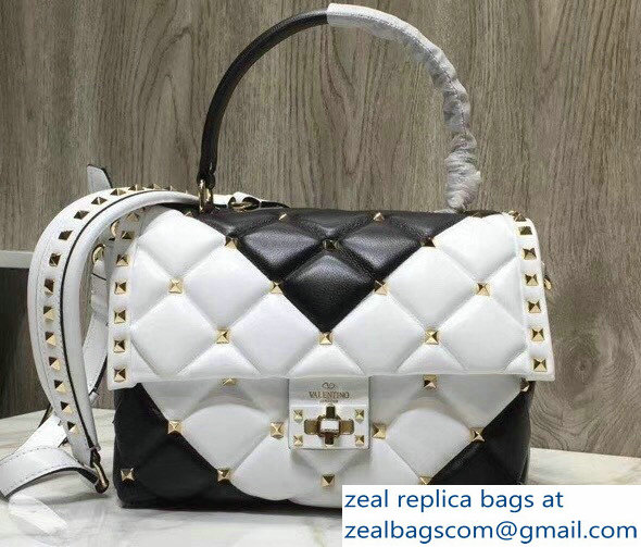 Valentino Candystud Single Handle Top Handle Bag Chevron White/Black 2018