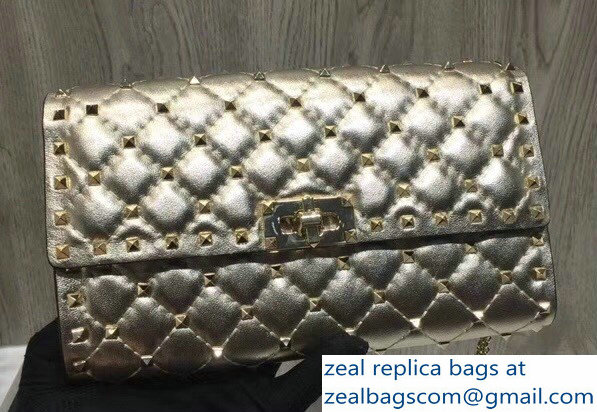 Valentino Rockstud Spike Chain Clutch Bag Crinkled Gold