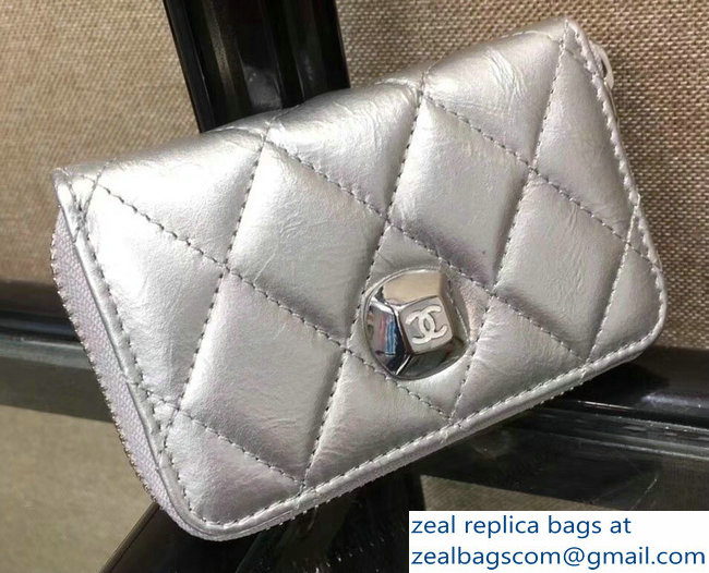 Chanel Metallic Aged Lambskin Zipped Coin Purse A84507 Silver 2018