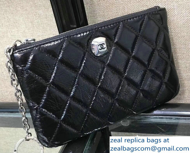 Chanel Metallic Aged Lambskin Zipped Large Coin Purse Black 2018