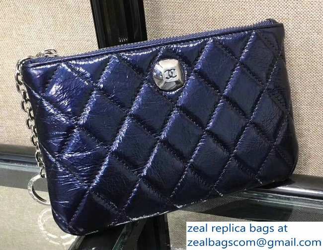 Chanel Metallic Aged Lambskin Zipped Large Coin Purse Blue 2018