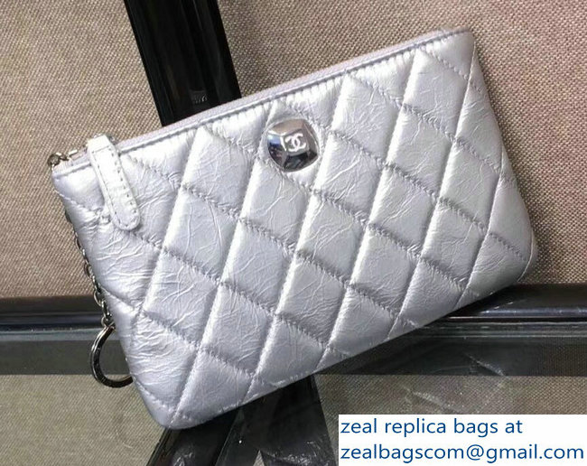 Chanel Metallic Aged Lambskin Zipped Large Coin Purse Silver 2018