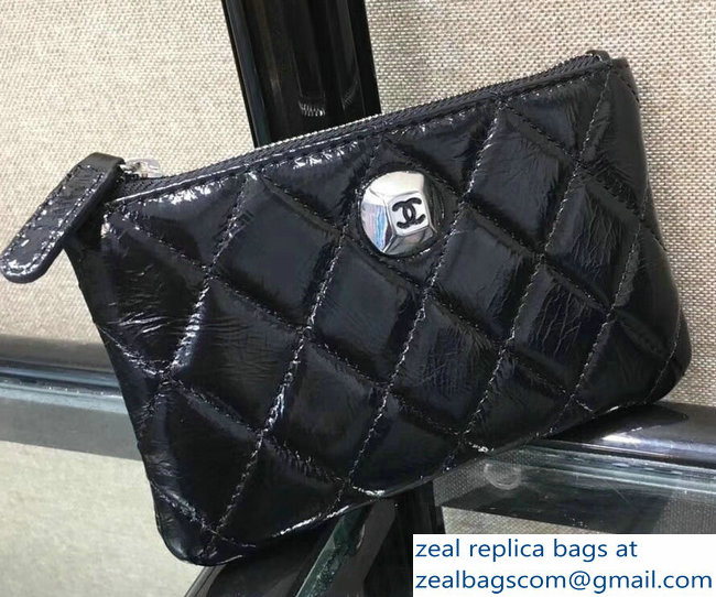 Chanel Metallic Aged Lambskin Zipped Small Coin Purse Black 2018