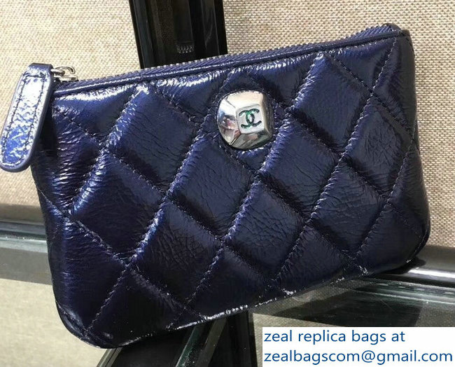 Chanel Metallic Aged Lambskin Zipped Small Coin Purse Blue 2018
