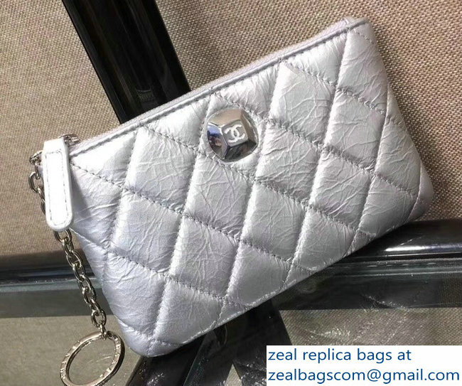 Chanel Metallic Aged Lambskin Zipped Small Coin Purse Silver 2018