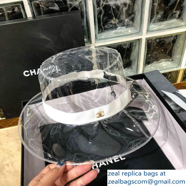 Chanel PVC and Grosgrain Transparent Hat A76369 White 2018   www ... 9f5b2bd363d