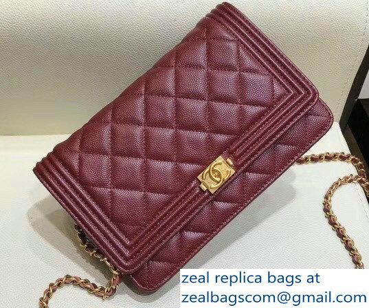 7cc534fd5010 Chanel Shine Gold Hardware Caviar Boy Wallet On Chain WOC Bag Burgundy 2018