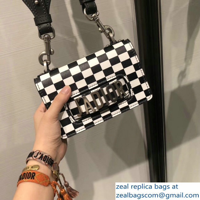 f583f861ffb5 Dior Mini J Adior Flap Bag In Black And White Printed Calfskin With Logo  Embroidered