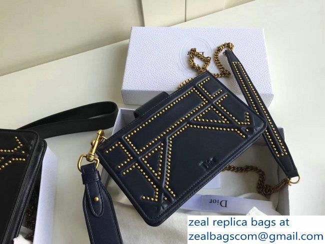 Dior Studded Diorama Baby Clutch Bag Dark Blue with Chain 2018   www ... ea486d82d4b89