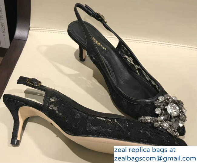Dolce & Gabbana Lace Slingbacks With Crystals Black