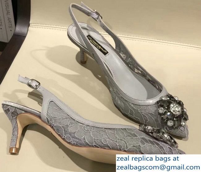 Dolce & Gabbana Lace Slingbacks With Crystals Gray