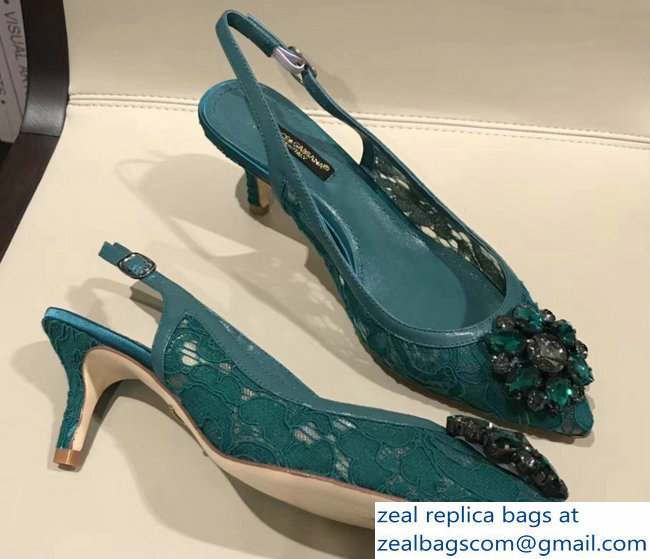 Dolce & Gabbana Lace Slingbacks With Crystals Green