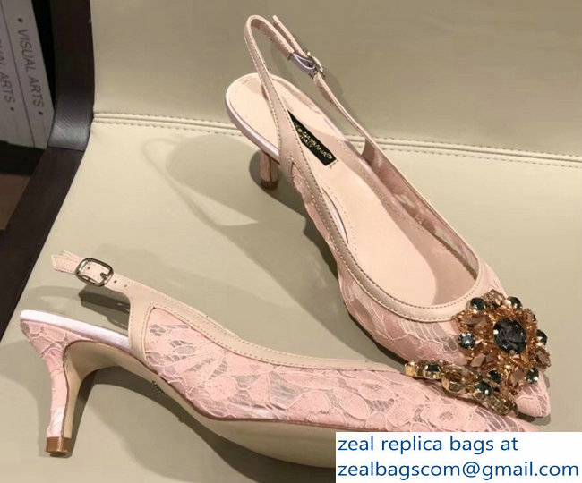 Dolce & Gabbana Lace Slingbacks With Crystals Nude Pink