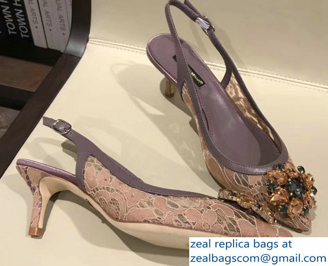 Dolce & Gabbana Lace Slingbacks With Crystals Purple