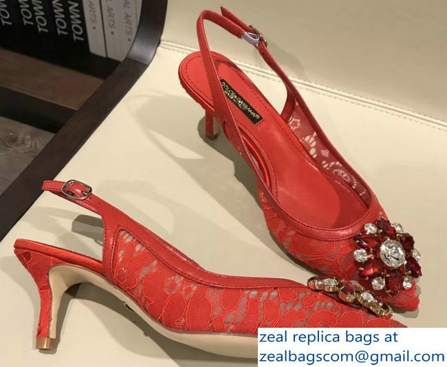 Dolce & Gabbana Lace Slingbacks With Crystals Red
