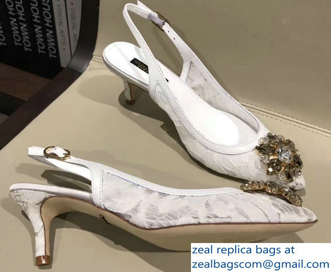Dolce & Gabbana Lace Slingbacks With Crystals White