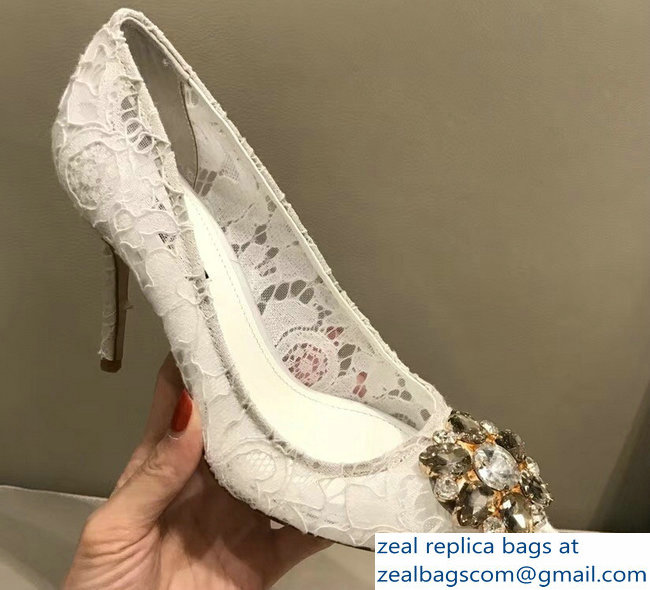 Dolce & Gabbana Pumps In Taormina Lace With Crystals White