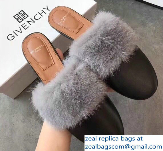 Givenchy Mink Fur Leather Bedford Flat Mules Black/Gray 2018
