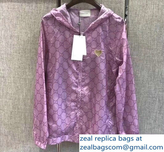 Gucci GG Windbreaker Jacket Sun Protection Hoodie Clothes Purple 2018