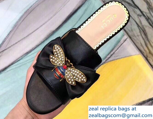 Gucci Leather Bow With Metal Bee Slides 524639 Black 2018